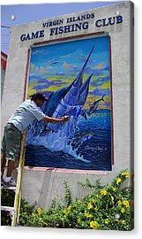 Mural In St Thomas Acrylic Print by Carey Chen