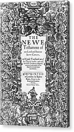 New Testament, King James Bible Acrylic Print by Photo Researchers