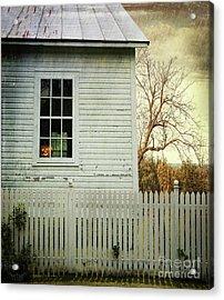 Old Farm  House Window  Acrylic Print by Sandra Cunningham