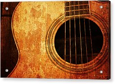 Old Guitar Acrylic Print by Nattapon Wongwean