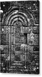 Ornate Carved Window In The 12th Century Banagher Old Church County Derry Londonderry Acrylic Print by Joe Fox