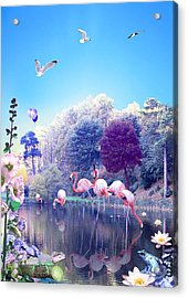pink Flamingoes Acrylic Print by Emily Campbell