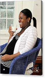 Pregnant Woman Drinking Milk Acrylic Print by Photo Researchers