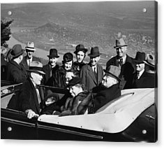President Franklin D. Roosevelt In Car Acrylic Print by Everett