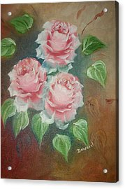 Acrylic Print featuring the mixed media Red Roses by Raymond Doward