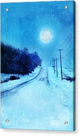 Rural Road In Winter Acrylic Print by Jill Battaglia