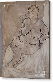 Seated Female Nude Acrylic Print by Joanne Claxton