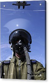 Self-portrait Of A Pilot Flying Acrylic Print by Daniel Karlsson