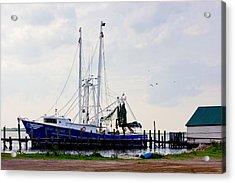 Shrimp Boat At Dock Acrylic Print by Barry Jones