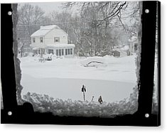 Snow Covers The Streets Acrylic Print by Stacy Gold
