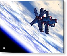 Space Hotel, Artwork Acrylic Print by Victor Habbick Visions