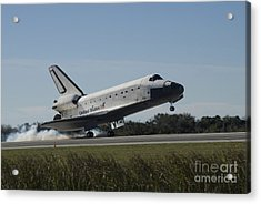 Space Shuttle Atlantis Touches Acrylic Print by Stocktrek Images