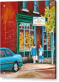 St. Viateur Bagel Shop Acrylic Print by Carole Spandau