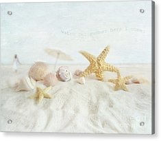 Starfish And Seashells  At The Beach Acrylic Print by Sandra Cunningham