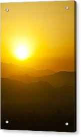 Sunset Behind Mountains Acrylic Print by U Schade