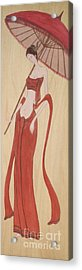 The Thai Traditional Contemporary Drawing Fairy Tale On Wood Acrylic Print by Ittipon Kongsua