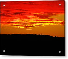 Winter Sunset In Texas Acrylic Print by Rebecca Cearley