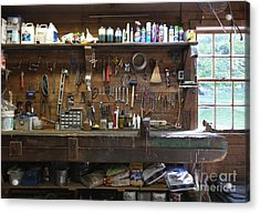 Work Bench And Tools Acrylic Print by Adam Crowley