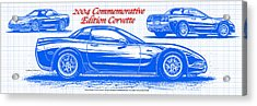 2004 Commemorative Edition Corvette Blueprint Acrylic Print