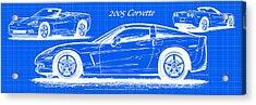 2005 Corvette Blueprint Series Acrylic Print