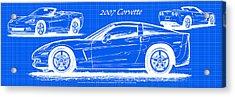 2007 Corvette Blueprint Series Acrylic Print