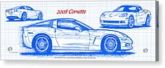 2008 Corvette Blueprint Acrylic Print