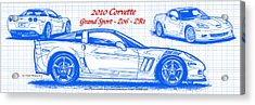 2010 Corvette Grand Sport - Z06 - Zr1 Blueprint Acrylic Print