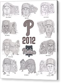 2012 Phightin' Phils Acrylic Print by Chris  DelVecchio