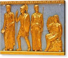24 Kt. Gold Greek Figures Acrylic Print by Linda Phelps