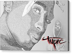 2pac Text Picture Acrylic Print by Aaron Parrill