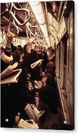 1970s America. Passengers On A Subway Acrylic Print by Everett
