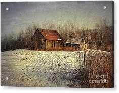 Abandoned Barn With Snow Falling Acrylic Print by Sandra Cunningham