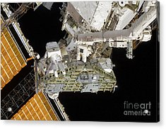 Astronauts Working On The International Acrylic Print by Stocktrek Images