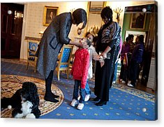 First Lady Michelle Obama Greets Acrylic Print