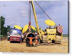 Gas Line Construction Acrylic Print by David Nunuk