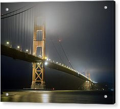 Acrylic Print featuring the photograph Golden Gate Bridge At Night by Mike Irwin