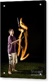 Juggling Fire Acrylic Print by Ted Kinsman