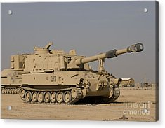 M109 Paladin, A Self-propelled 155mm Acrylic Print by Terry Moore