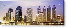 Night Scenes Of City Acrylic Print by Setsiri Silapasuwanchai