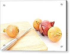 Onions Acrylic Print by Tom Gowanlock