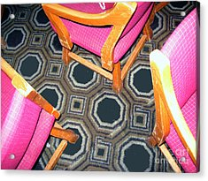Acrylic Print featuring the photograph 3 Pink Chairs                  by Bill Thomson
