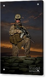 Portrait Of A U.s. Marine In Uniform Acrylic Print by Terry Moore