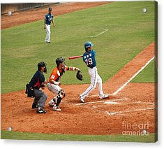 Professional Baseball Game In Taiwan Acrylic Print by Yali Shi