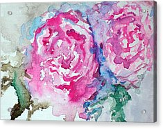 Acrylic Print featuring the painting Red Roses by Raymond Doward