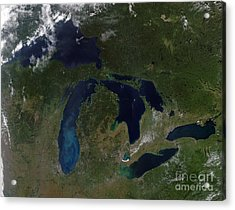 Satellite View Of The Great Lakes Acrylic Print by Stocktrek Images
