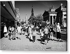 Shoppers And Tourists On Princes Street Edinburgh Scotland Uk United Kingdom Acrylic Print by Joe Fox