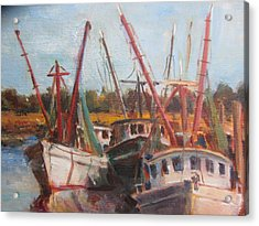 3 Shrimpers At Dock Acrylic Print by Albert Fendig