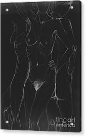 3 Sides Of A Woman In Night Acrylic Print by Roswitha Schmuecker
