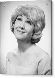 Smiling Woman Posing In Studio, (b&w), Portrait Acrylic Print by George Marks