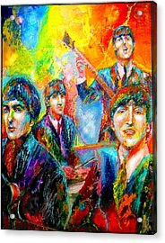 The Beatles Acrylic Print by Leland Castro